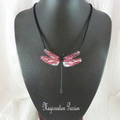 Polyester, Jewelry, Fashion, Pendant Necklace, Red, Long Choker Necklace, Playing Card, Black Metal, Damselflies