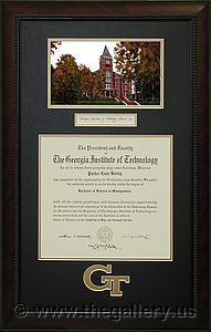 Georgia Tech diploma with logo cut into the mat  The Gallery at Brookwood www.thegallery.us 770-941-3394 Your Custom Framing Expert Picture Framing Examples Custom Framing Examples Shadowbox Examples