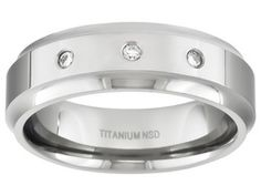 Polished Titanium With .10ctw Diamond Accent Beveled Edge Comfort Fit Men's Band