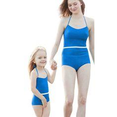 aabe5e45b3 Matching Mother Daughter Solid Blue Swimwear Bathing Suit. Sexy BikiniBikini  ...