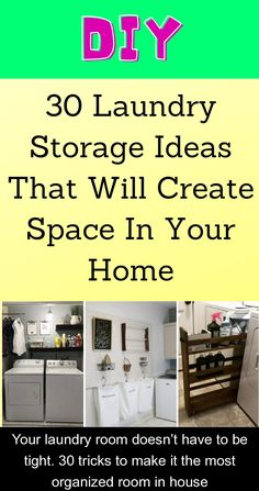 Your laundry room doesn't have to be tight. 30 tricks to make it the most organized room in house {950048} #laundry #storage #ideas #laundrystorageideas It's easier than you think to create space and keep things neat and tidy!