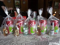 Cocktail gift pack- I put these together to go with some DVD 's at Christmas. I put the Coke cans in holiday pattern plastic cups with cocktail straws, and added a mini bottle of various liquors.