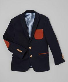 Another great find on #zulily! Navy & Orange Elbow Patch Blazer - Toddler & Boys #zulilyfinds