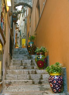 It's a beautiful world * Flower vases on the streets of Taormina / Italy (by Melindapsy). Stairs And Staircase, Take The Stairs, Flower Vases, Flower Pots, Flowers, Beautiful World, Beautiful Places, Amazing Places, Stair Steps