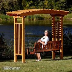 You can build this stylish, arched garden arbor with a swing in only a couple of days—it's way easier than it looks. Diy Pergola, Building A Pergola, Pergola Kits, Pergola Ideas, Pergola Shade, Pergola Roof, Diy Patio, Building Plans, Backyard Ideas