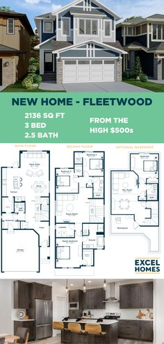 The flexible, open concept Fleetwood is ideal for growing families, with an optional third-level loft or full basement suite. Personalize your model and check out the virtual tour on our website! ExcelHomes.ca #FloorPlan #ShowHome #3BedroomHome #CalgaryHome #ExcelHomes 3 Bedroom Home Floor Plans, Small House Floor Plans, Build Your House, Building A House, Living Room Designs, Living Room Decor, Basement Insulation, New Homes, Basement Bedrooms