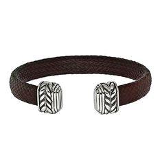 Edward Mirell Leather-like Carbon Fiber Men's Bracelet. Marsala Color.