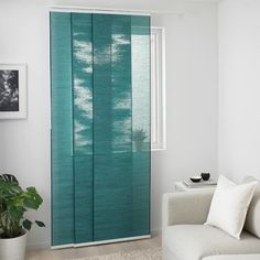 The outside light still comes through and creates a cozy atmosphere in the room. Ikea Panel Curtains, Panel Blinds, Bamboo Curtains, Closet Curtains, Sheer Curtain Panels, Curtain Lights, Blinds For Windows, Doorway Curtain, Room Divider Curtain