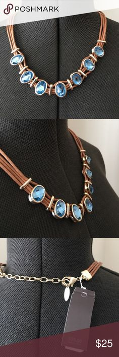 ST THOMAS BLUE OVAL AND BROWN CORD NECKLACE ST THOMAS BLUE CORD AND BROWN NECKLACE ST THOMAS Jewelry Necklaces