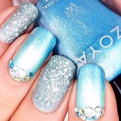 Blue with silver and gems. Love the frosted look! Instagram media by nailsbynemo #nail #nails #nailart
