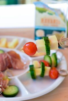 Mini cheese and vegetable skewers. It is so good and so easy to make with a…
