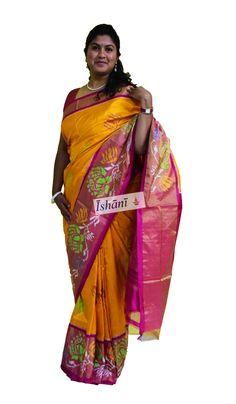 Ikat pure silk saree SKU: ISB5209 Contact : +918861255270 ishanisarees@gmail.com www.facebook.com/ishanisarees