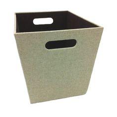allen roth w x h x d beige fabric milk crate