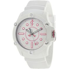 Juicy Couture Surfside 1900904 Women's Stainless Steel and Silicon... ($91) ❤ liked on Polyvore featuring jewelry, watches, white, silicone strap watches, white crown, white silicone watches, sport watches and white faced watches