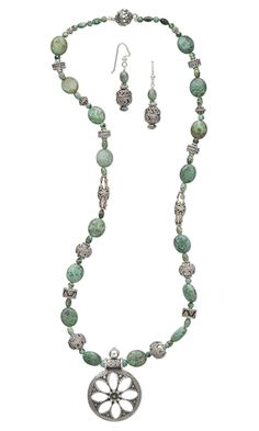 Jewelry Design - Single-Strand Necklace and Earring Set with Turquoise Beads and Sterling Silver Beads - Fire Mountain Gems and Beads