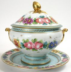 Continental Porcelain Soup Tureen & Underplate. Price : $395.00 - http://www.antiques.com/vendor_item_images/ori_333-34264-820589-Continental-porcelain-soup-tureen-amp-underplate-picture1.jpg