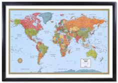 Beautiful framed world map framed maps pinterest framed maps 32x50 rand mcnally world signature push pin travel wall map foam board mounted or framed gumiabroncs Image collections