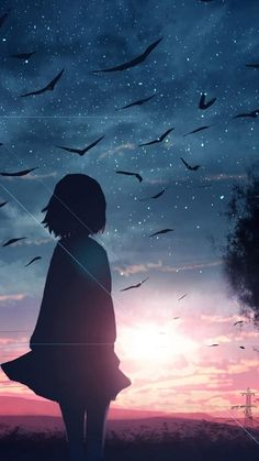 Before the sunset night Beautiful Wallpaper Anime Backgrounds Wallpapers, Anime Scenery Wallpaper, Animes Wallpapers, Pretty Wallpapers, Cute Anime Wallpaper, Girl Wallpaper, Cool Anime Girl, Anime Art Girl, Fille Blonde Anime