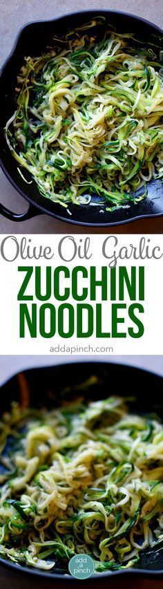 Olive Oil Garlic Zucchini Noodles Recipe - These Olive Oil Garlic Zucchini Noodles are fast and fabulous for a quick and easy way to incorporate more vegetables into your meals! Made with just a handful of ingredients and ready in minutes! // http://addapinch.com
