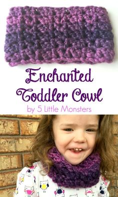 Free crochet pattern for a quick and easy crocheted toddler cowl.