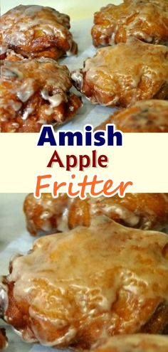 Sometimes, a warm apple fritter and a strong cup of coffee are exactly what is needed to kick-start a great day. This simple Amish apple fritters recipe will not disappoint, they're DELISH! Healthy Apple Desserts, Apple Dessert Recipes, Sweets Recipes, Fall Recipes, Baking Recipes, Breakfast Recipes, Simple Apple Recipes, Ramadan Recipes, Candy Recipes
