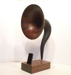 RARE WOOD Acoustic  iPhone Speaker Dock Utilizing a Vintage Antique Gramophone Horn  -Ready to Ship-