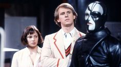 Nicola Bryant as Peri, Peter Davison as The Doctor and Christopher Gable as Sharaz Jek in 1984's The Caves of Androzani
