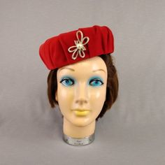 Red Velvet Christmas Pill Box Fascinator Hat with Rhinestone Faux Pearl  Ribbon Brooch Satin Lined 909a05931471