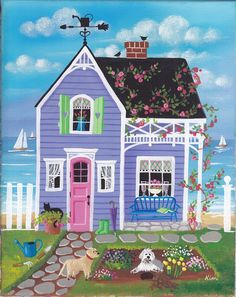 'Spring Blooms Cottage' Folk by Kim's Cottage Art Illustrations, Illustration Art, Cottage Art, Cute House, Spring Blooms, Naive Art, Whimsical Art, Kitsch, Home Art