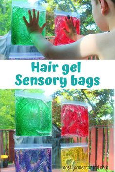 Sensory play is a hot topic around here. I love sensory bins, sensory bottles and these sensory bags with hair gel. They're great for all ages, as my 8 month old and year old loved them! This post. Baby Sensory Play, Sensory Activities Toddlers, Baby Play, Infant Activities, Activities For Kids, Baby Sensory Bags, Sensory Bottles For Toddlers, Diy Sensory Toys For 1 Year Old, Sensory Activities For Toddlers