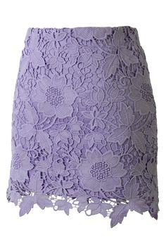 Purple Floral Crochet Skirt - Skirt - Bottoms - Retro, Indie and Unique Fashion