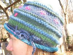 Cute hat knit from worsted weight scraps. Free on Ravelry