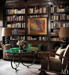 Amazing library in a Chicago apartment. The artwork in the library of a Chicago home by Jean-Louis Deniot is by Serge Poliakoff. The vintage malachite cocktail table is by Maison Jansen. Architectural Digest, Chicago Apartment, Modern Library, Library Design, Built In Bookcase, Bookshelves, Library Shelves, Bookshelf Wall, Jean Louis Deniot