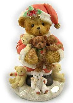 Stewart-2003 9th in series Christmas Teddy Bear, Christmas Love, Vintage Christmas, Teddy Bear Cartoon, My Teddy Bear, Enesco Figurines, Clay Bear, Biscuit, Cow Decor