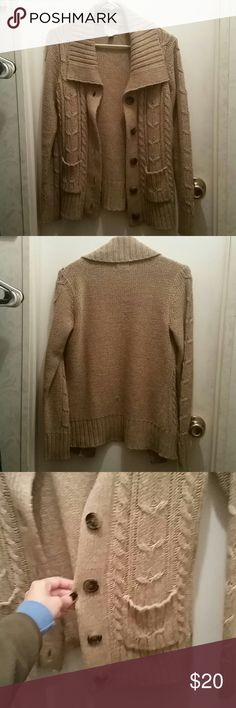 Spotted while shopping on Poshmark: Thick Tan Cardigan! #poshmark #fashion #shopping #style #Hollister #Sweaters