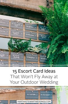 15 Escort Cards Ideas That Won't Fly Away at Your Outdoor Wedding | Martha Stewart Weddings - Whether you're into brass, tassels, marble, shells, or wood, there are plenty of ways to work with texture and color to create a wind-proof escort card display that works with your overall wedding design scheme.