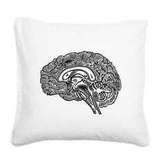 Science Geek Brain Square Canvas Pillow