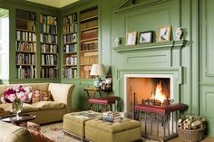 thefoodogatemyhomework: Cozy green library in Shilstone House - restored by Sebastian and Lucy Fenwick, a Georgian house in the heart of the Devon countryside. Georgian Interiors, Georgian Homes, Living Room Green, Green Rooms, Green Walls, Green Library, Home Libraries, English House, Country Decor