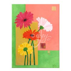 Original Painting, DAISIES,  12x16 Acrylic Canvas, Home Decor, Floral Painting