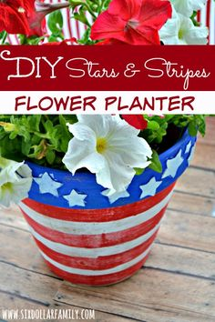 Ready to dress up that old terra cotta flower pot? This Stars & Stripes Flower Planter craft is perfect! Simple to do, budget friendly and a GREAT way to celebrate the 4th of July! Perfect for Memorial Day or Veterans Day too!