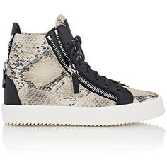 Giuseppe Zanotti Snakeskin-Stamped Double-Zip Sneakers Size ($695) ❤ liked on Polyvore featuring men's fashion, men's shoes, men's sneakers y colorless