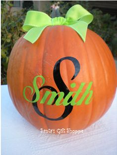 or Fall Harvest Decorations Customized Letter with Circle of Dots Halloween Home Decor Thanksgiving Monogram Halloween Vinyl Decals Personalized Pumpkin Decor