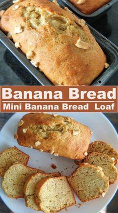 Delicious, soft and easy to make banana bread ! #miniloaf #bananabread Banana Walnut Bread, Make Banana Bread, Mini Bananas, Fusion Food, Indian Food Recipes, Healthy Recipes, Yummy Food, Delicious Desserts, Food Hacks