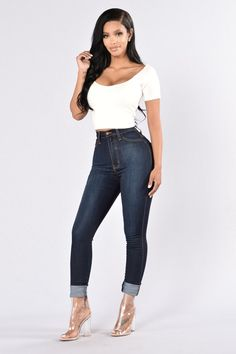 Classic High Waist Skinny Jeans - Dark Blue