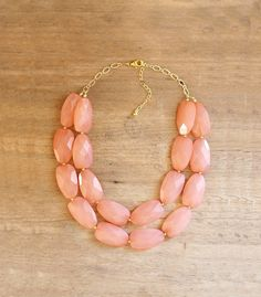 Peach Coral Double Strand Layered Statement by ShopNestled on Etsy, $42.00