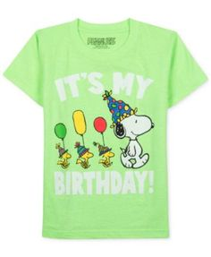 Peanuts Gang Snoopy Toddlers T-Shirt Neon Green It's My Birthday Print Snoopy Birthday, Snoopy Party, Baby Birthday, Birthday Shirts, Birthday Ideas, Snoopy And Woodstock, Halloween Birthday, Baby Kids, Peanuts Gang