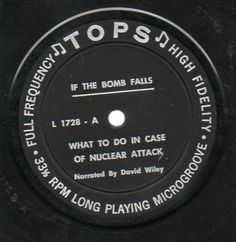 """If the bomb falls"": The LP ""suggests that you keep a two-week supply of napkins on hand, in addition to ... batteries, just in case the power goes out, and DDT, which went unexplained."" Caption from link"