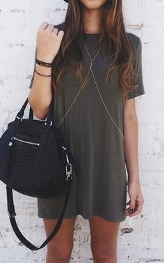 body chain over tee dress.
