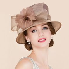 ac23615779973c Elegant Lady Feathered Flower and Big Bow Decorated Wedding Tea Party  Cambric Hat - KHAKI