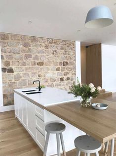 Stone laid over timber benchtop Timber Kitchen, Stone Kitchen, Stone Benchtop Kitchen, Home Decor Kitchen, New Kitchen, Home Kitchens, Modern Kitchen Design, Interior Design Kitchen, Timber Benchtop